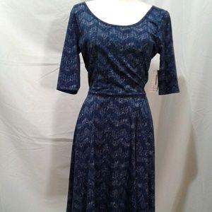 🌺 NWT LuLaRoe Nicole Navy Chevron Print Dress